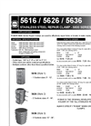 ROBAR - 5616/5626/5636 - 5600 Series - Stainless Steel Repair Clamp Datasheet