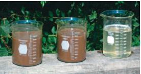Sludge before (left) and after (right) treatment with Geotube dewatering technology.