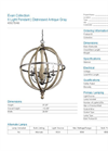 6 Light Pendant | Distressed Antique Gray - Specification Sheet