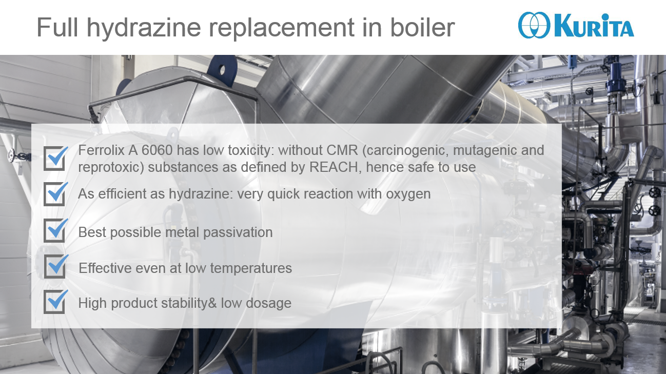 Full hydrazine replacement in boiler