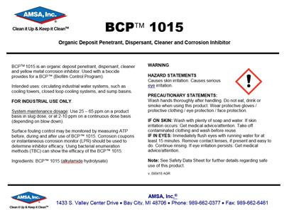 BCP™ 1015 - Organic Deposit Penetrant, Dispersant, Cleaner and Corrosion Inhibitor