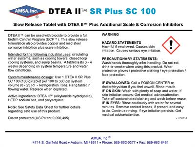 DTEA II™ SR Plus SC Tablets - Slow Release Tablet with DTEA II™ Plus Additional Scale & Corrosion Inhibitors
