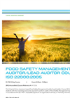 Food Safety Management Systems Auditor-Lead Auditor ISO 22000:2005 - Tech sheet