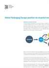 Metal Packaging Europe Position On Recycled Metal Content- Brochure