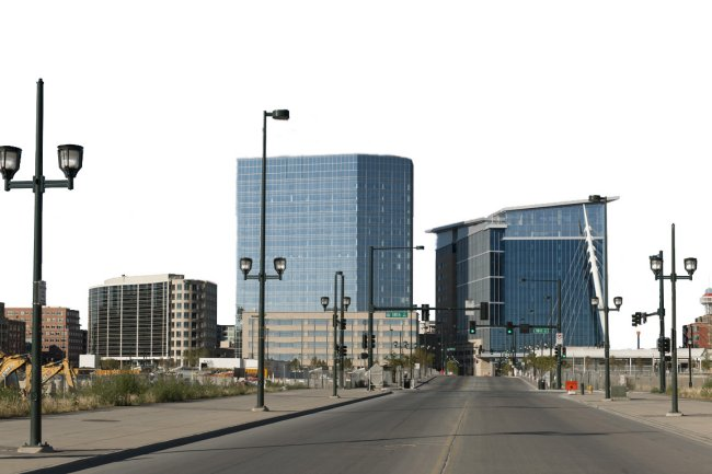 Buildings from left to right: Legacy Plaza - Gates World Headquarters, 1900 16th Street  and DaVita World Headquarters