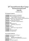22nd Annual Eastern Boot Camp on Environmental Law Agenda