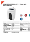 HSM SECURIO P36i - 0,78 x 11 mm with Metal Detection Document Shredder - Datasheet