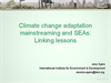Climate Change and Adaptation Mainstreaming