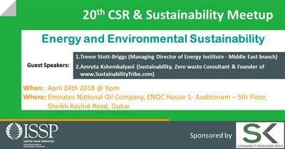 20th MeetUp in Dubai by the International Society of Sustainability Professionals ''Energy and Environmental Sustainability''