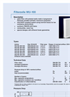 Kalthoff - Model WU-100 - Panel Filter - Datasheet