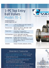 Model TE1 - Top Entry One Piece Trunnion Ball Valve Brochure