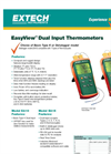 Extech - Model EasyView™ EA10 - Dual Input Thermometers -  Datasheet