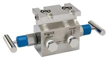 NOSHOK - Model 2530 Series - 2-Valve Natural Gas Manifold Valves Large Bore, Angle