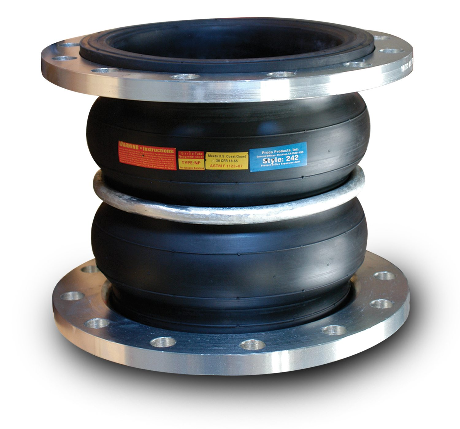 Inc 2.5X7 242A//EE Double Arch EPDM Spherical Expansion Joint with 150# Floating Flanges 242A Proco Products 2.5 x 7