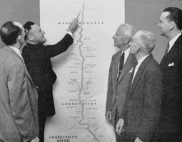 1954: NEIWPCC Commissioners discuss the proposed classification for the Connecticut River at a public meeting in Springfield, Massachusetts.