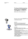 Deltapilot S FMB70 Hydrostatic Level Measurement - Technical Information