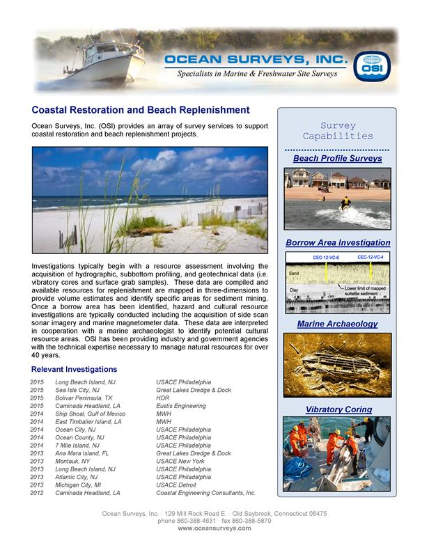 OSI Coastal Restoration and Beach Replenishment Experience