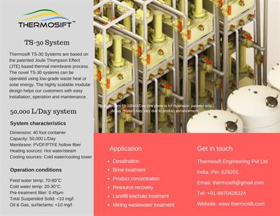 Thermosift - Model TS-30™ - Brine treatment and zero liquid discharge (ZLD) systems