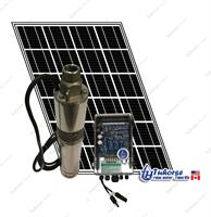 Tuhorse - 4 500W Solar Submersible Deep Well Pump, 1x 280W Solar Panel, 80 feet Cable Complete Kit