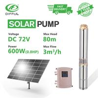 Difful - Model 3DPC3-80-72-600 - Solar submersible water bore pump with plastic impeller