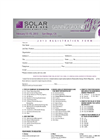 Solar Power-Gen Conference & Exhibition 2013 - Registration Form