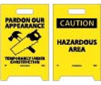 NMC - Caution Hazardous Area Double-Sided Floor Sign